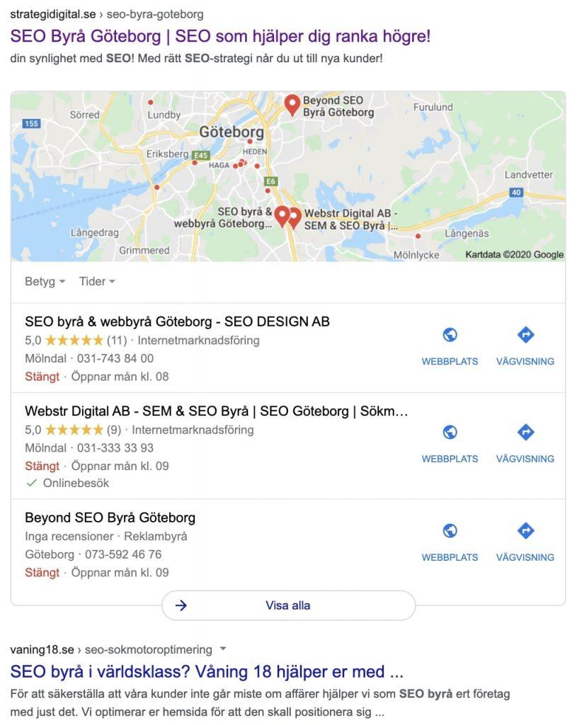 Synas på Google